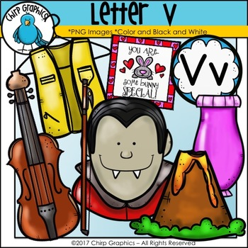 Letter V Alphabet Clip Art Set.