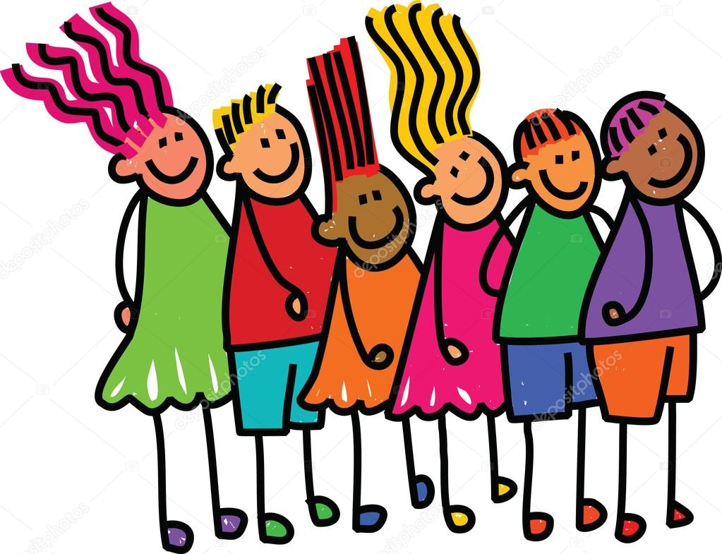 Kids Waiting In Line Clipart.