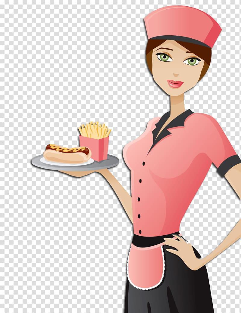 Food Cartoon Human behavior Homo sapiens, Waitress.