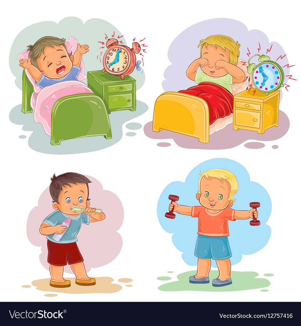 Clip art of little children wake up.