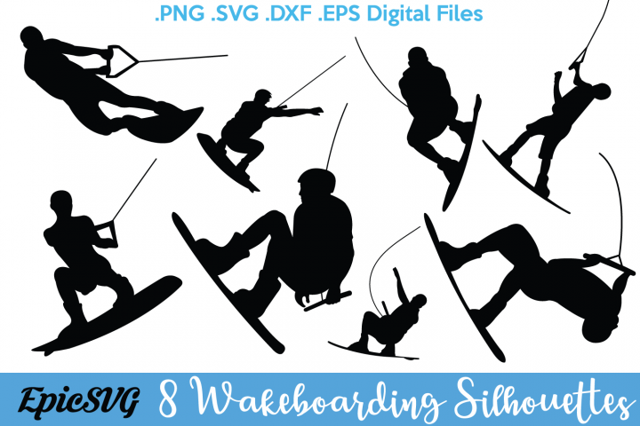8 Wakeboarding Silhouettes.