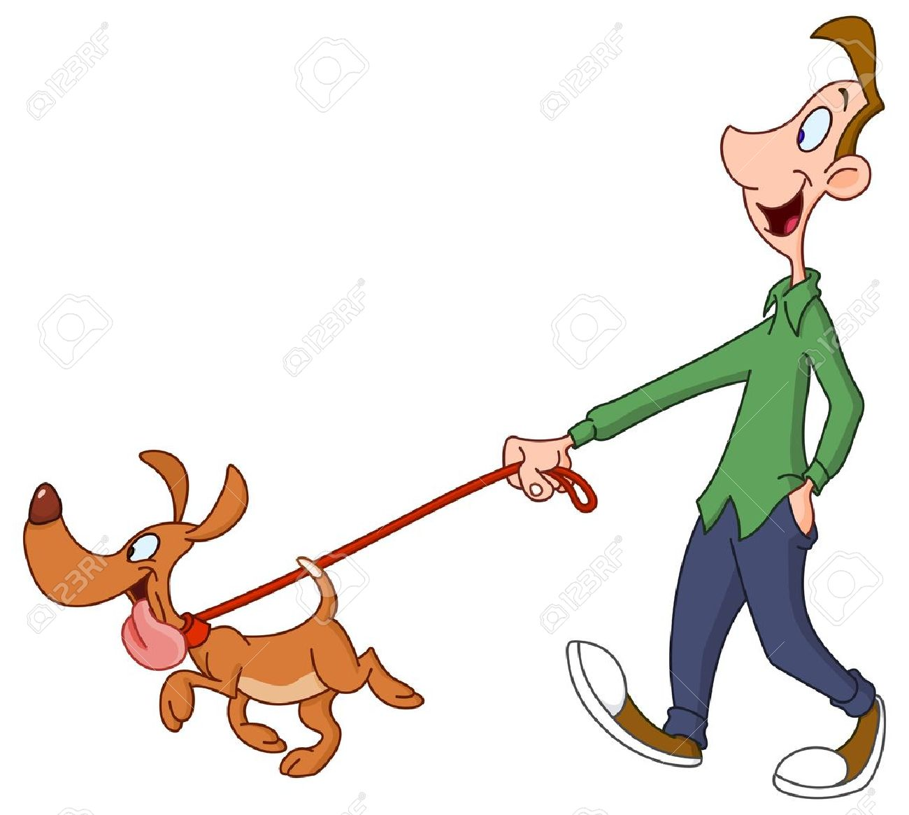 Man Walking A Dog Clipart.