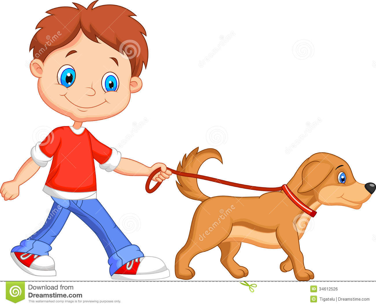 Boy Walking Dog Clipart.