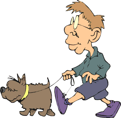Clipart walking the dog.