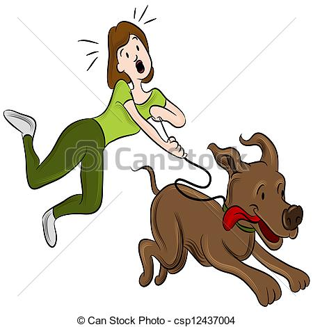 Vector Clipart of Woman Walking Dog.
