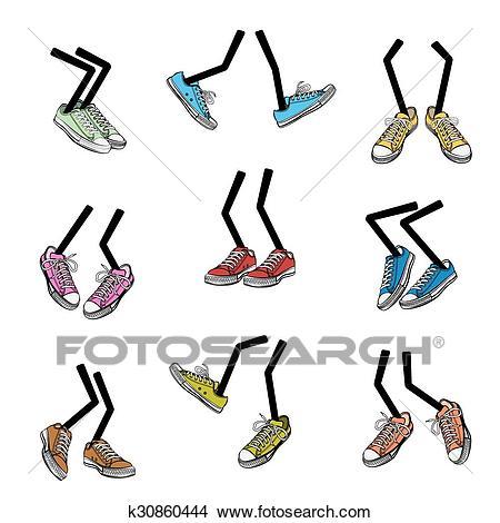 Cartoon walking feet Clipart.