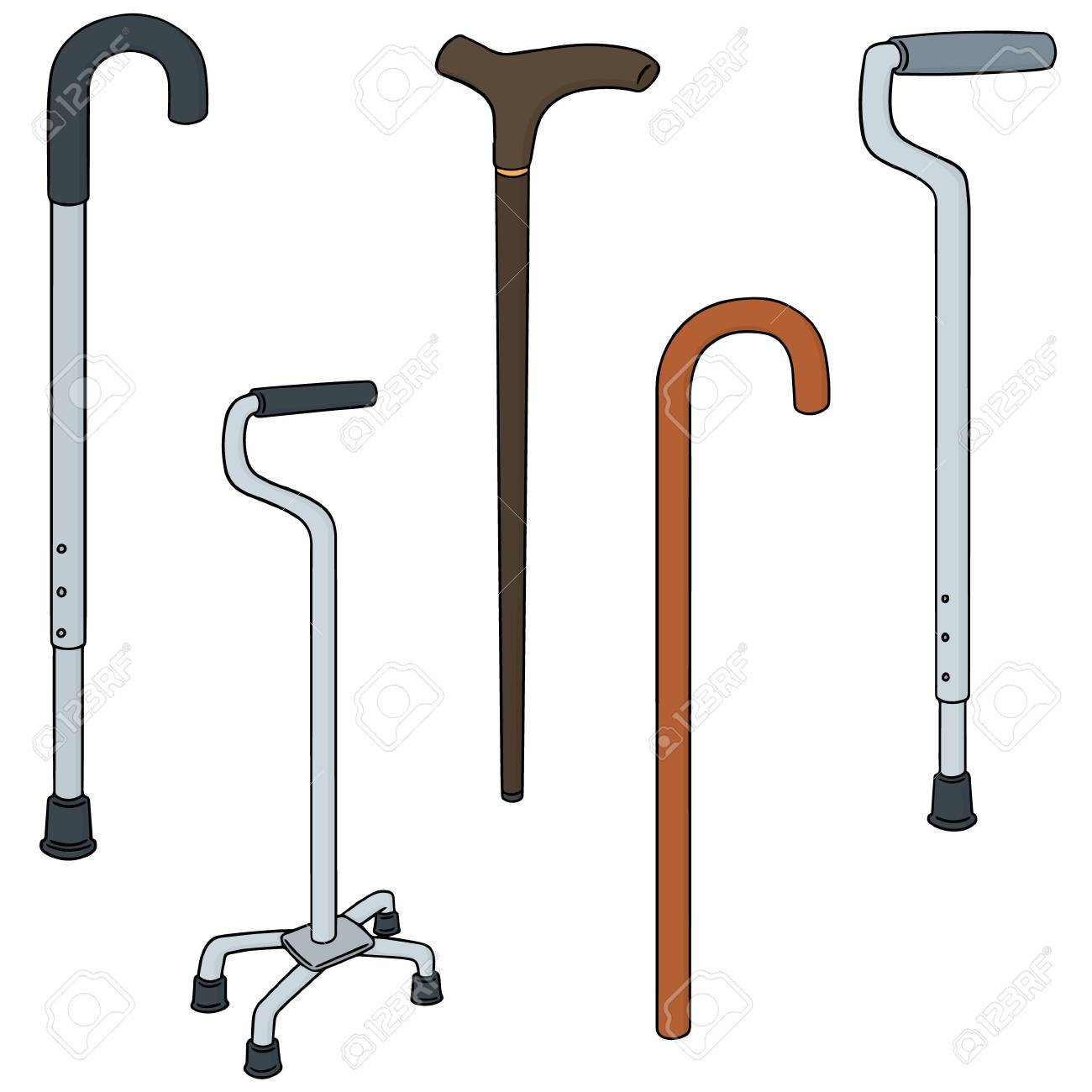 Colorful cartoon vector illustration set of walking stick.