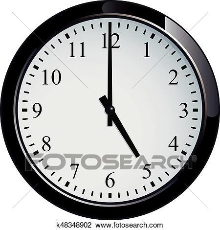 Wall clock set at 5 o'clock Clipart.