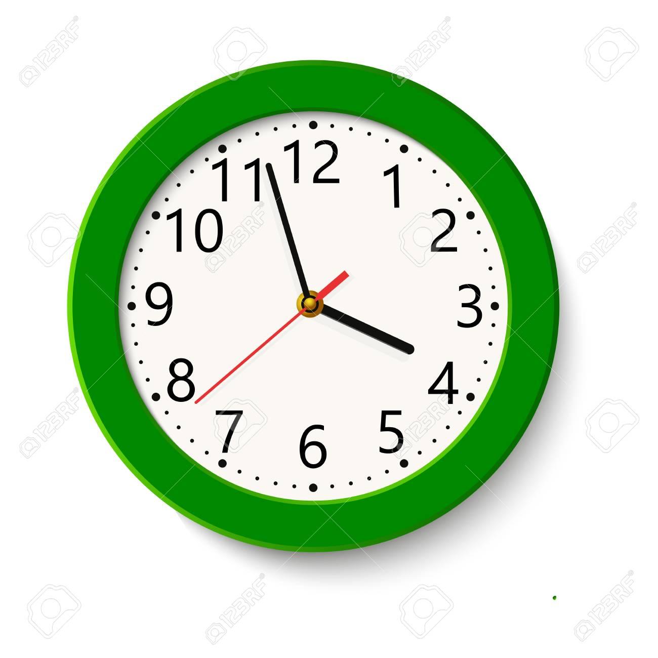 Classic green round wall clock..