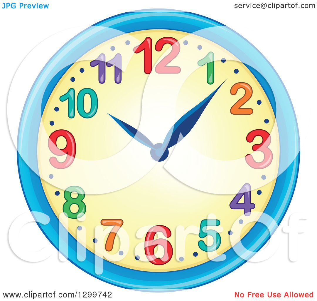 Clipart of a Colorful Wall Clock.