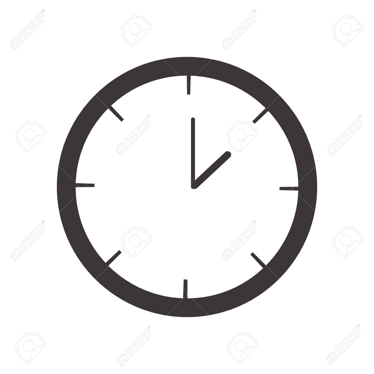 silhouette Wall Clock with analog hours vector illustration.
