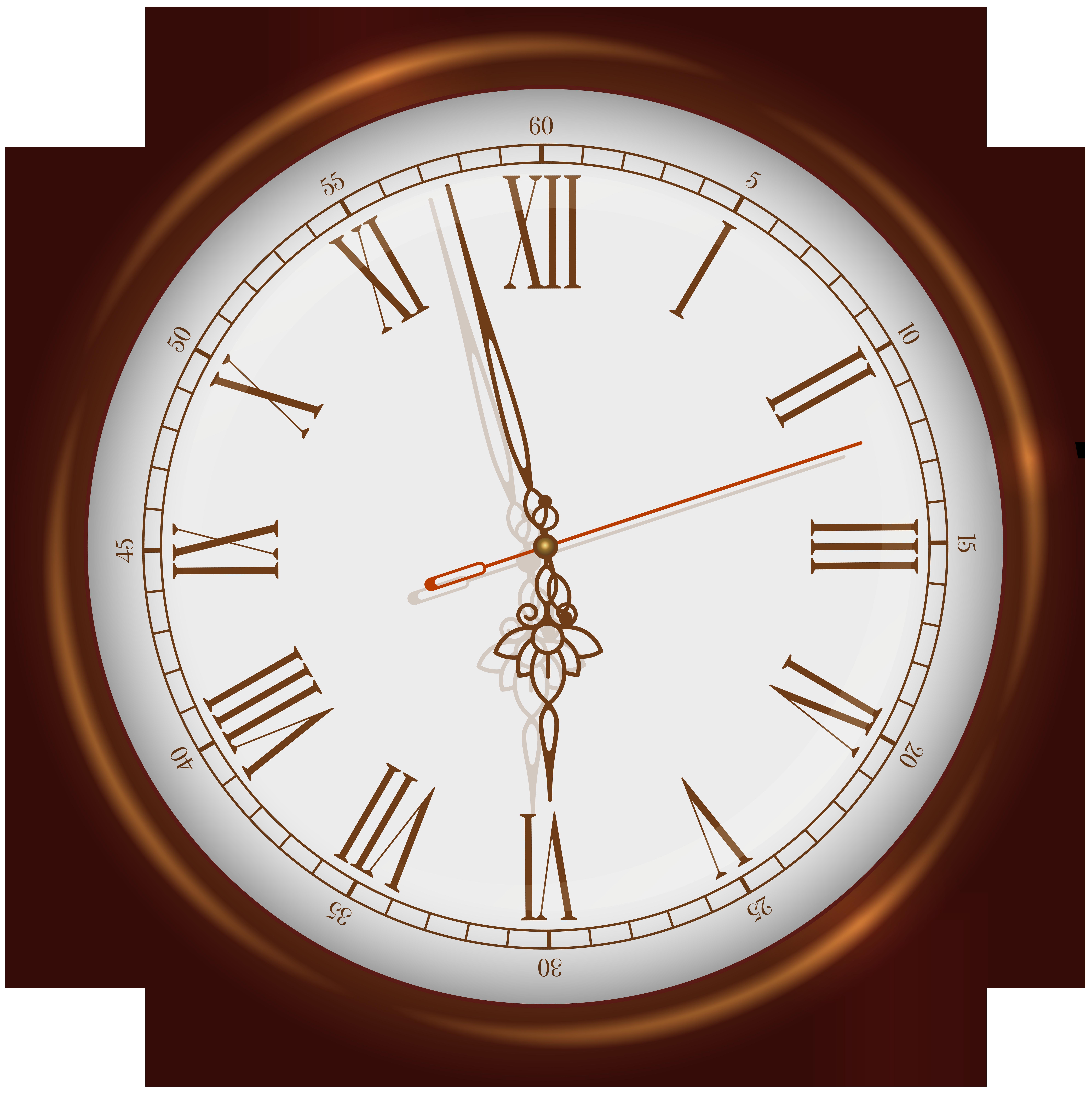 Brown Wall Clock PNG Clip Art.