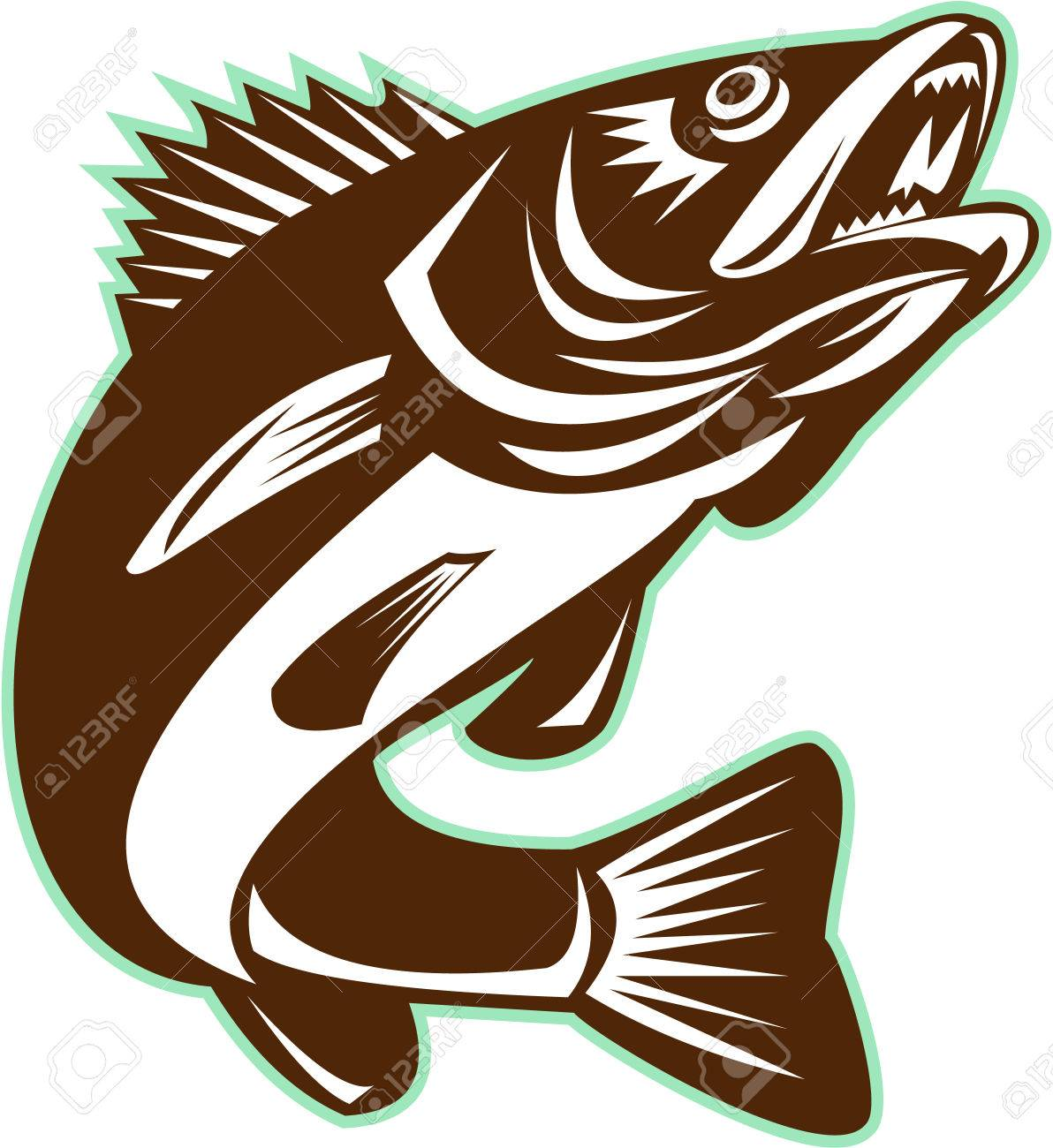 Walleye Fish Jumping Isolated Retro » Clipart Station.