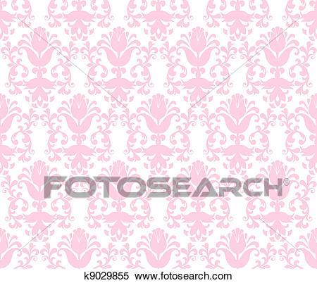 Seamless light green floral wallpaper background Clipart.