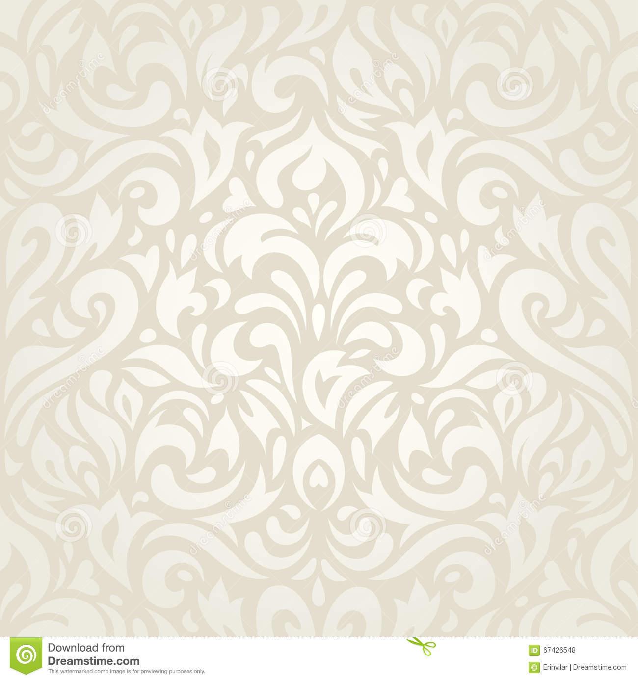 Wedding Vintage Floral Ecru Wallpaper Background Design Stock Vector.