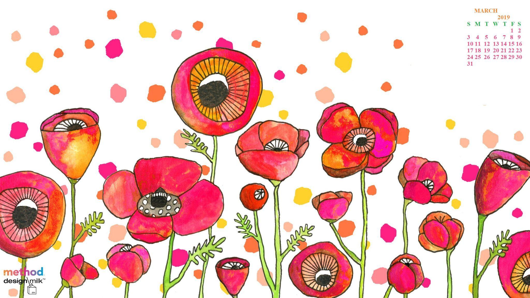 Cute March 2019 Calendar Floral Designs Images Clipart.