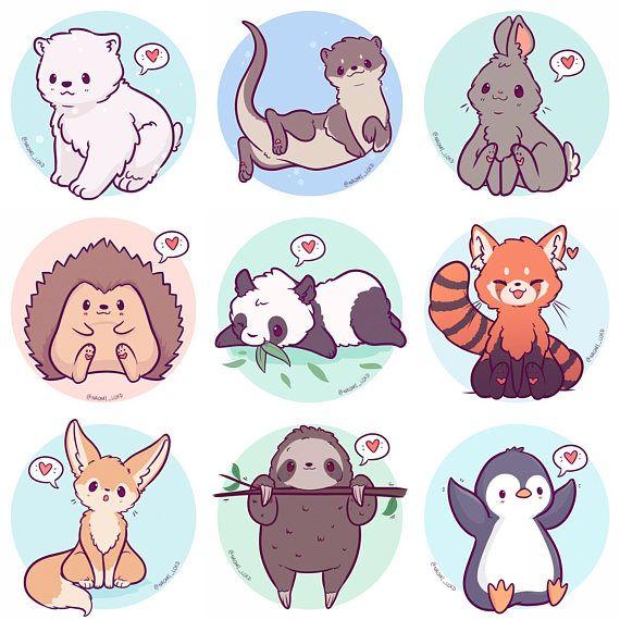 Kawaii Animals Stickers, Owl, Snow Leopard, Shiba, Fox.