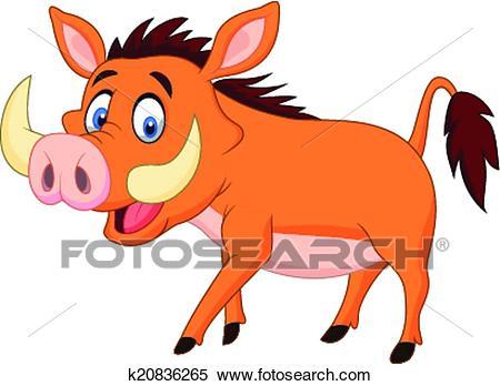 Cartoon warthog Clipart.