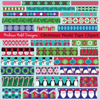 Christmas Theme Washi Tape Clipart.