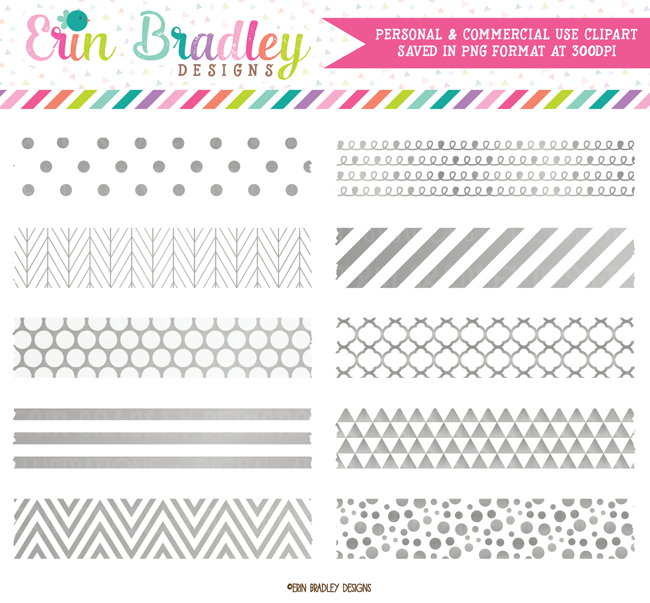 Silver Foil Digital Washi Tape Clipart.