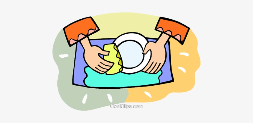 Person Doing The Dishes Royalty Free Vector Clip Art.