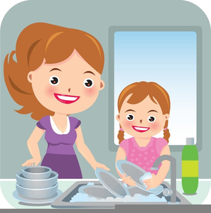 Kids Washing Dishes Clipart.