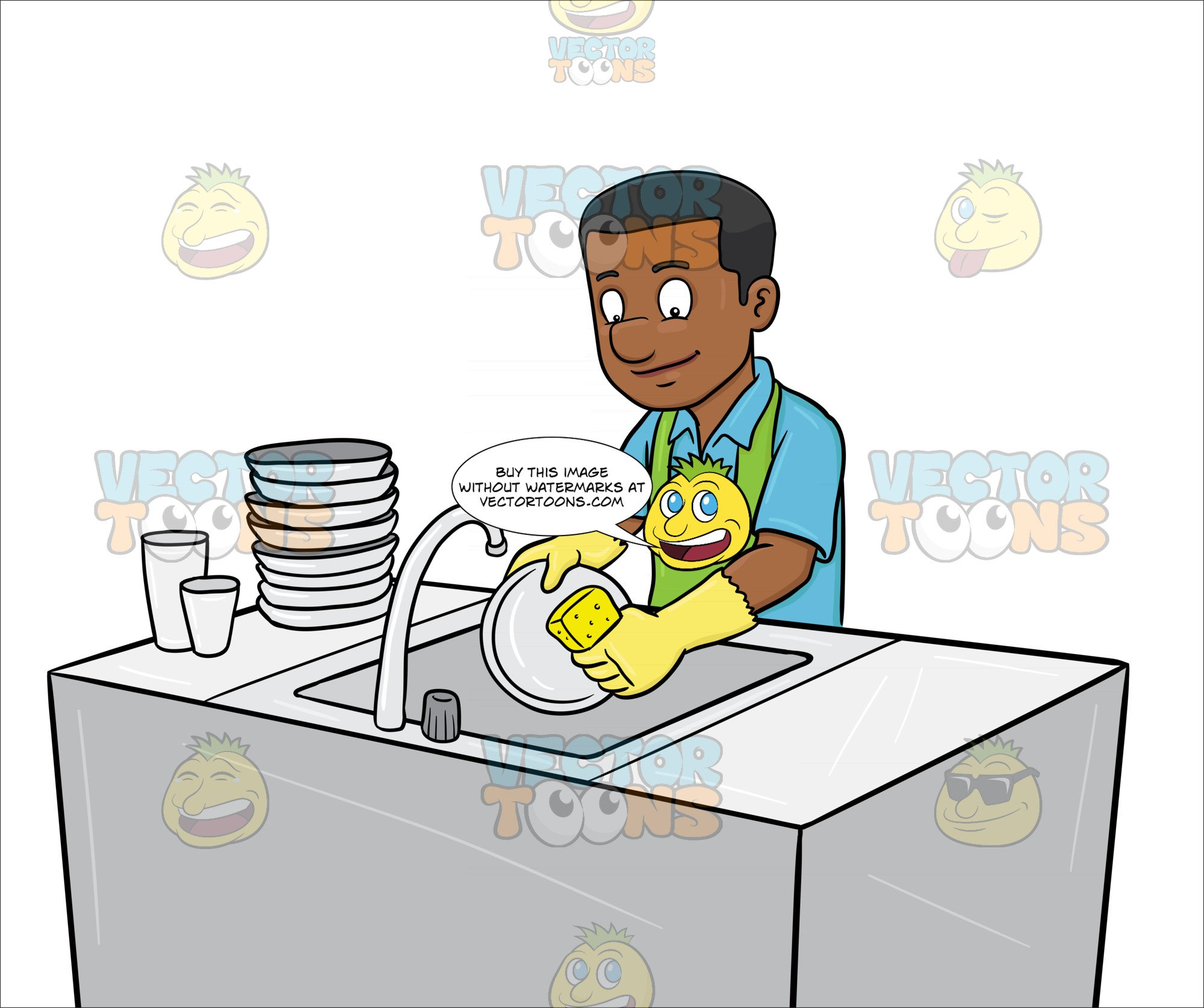 A Black Man Washing The Dishes.