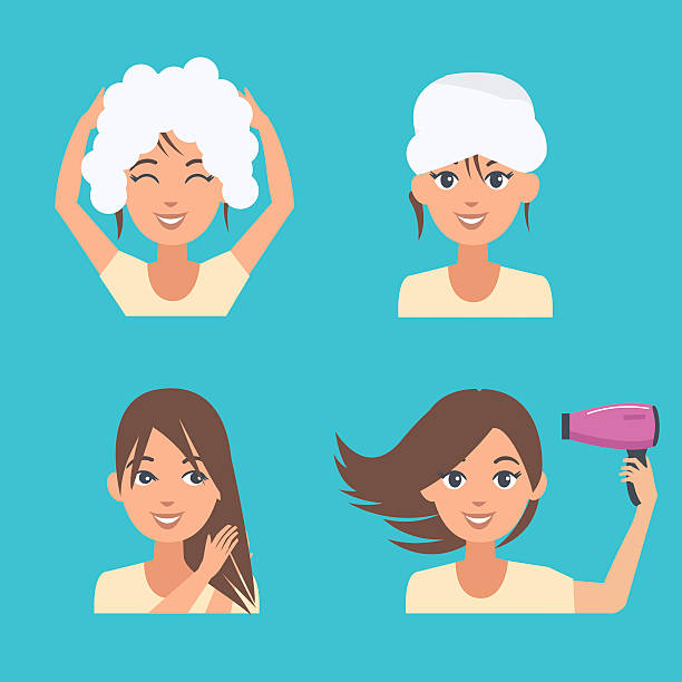 Top 60 Wash Hair Clip Art, Vector Graphics and Illustrations.
