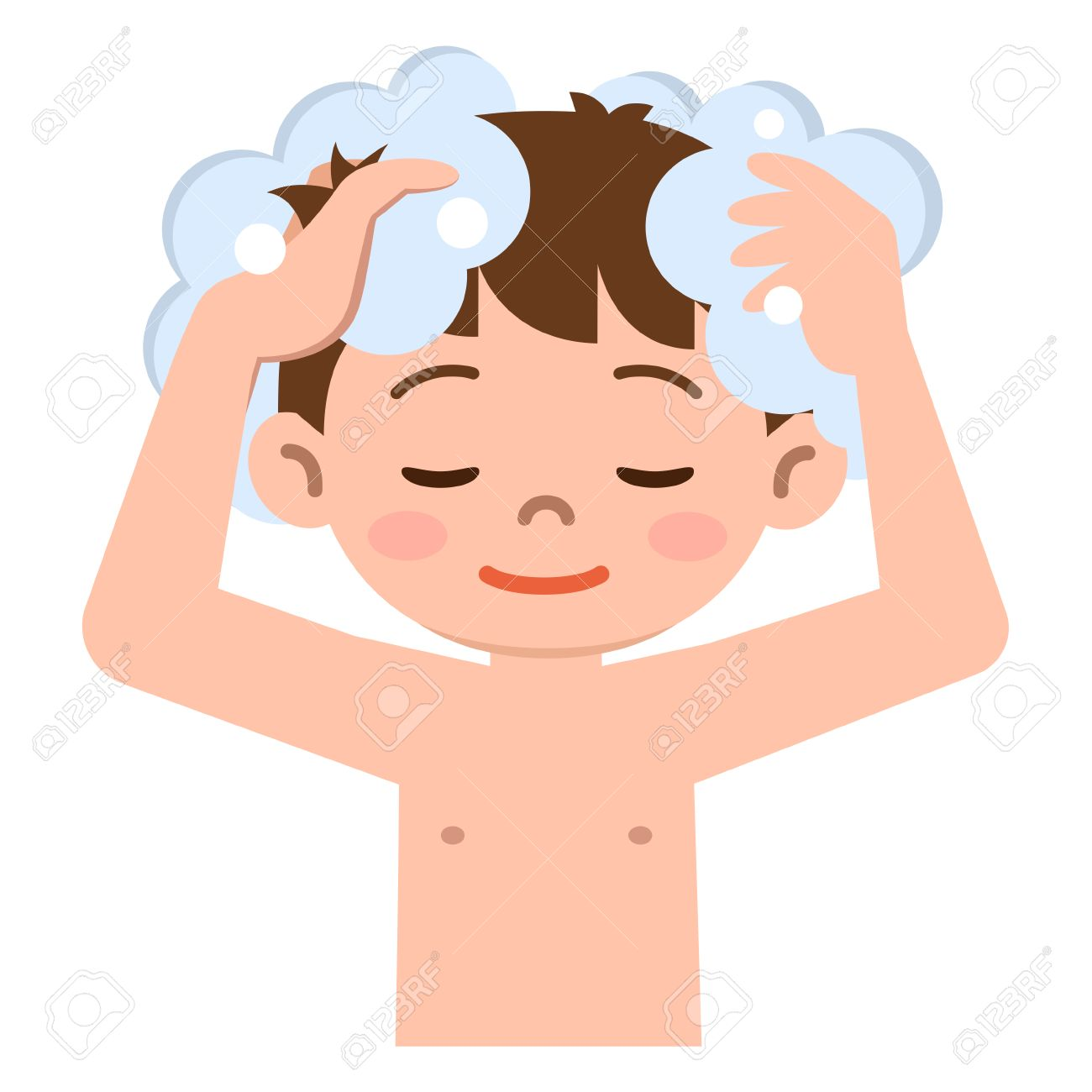 Boy to wash the hair with shampoo.