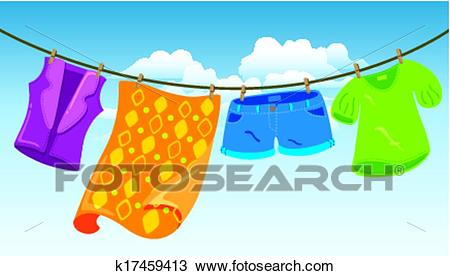 Clothes on washing line Clipart.