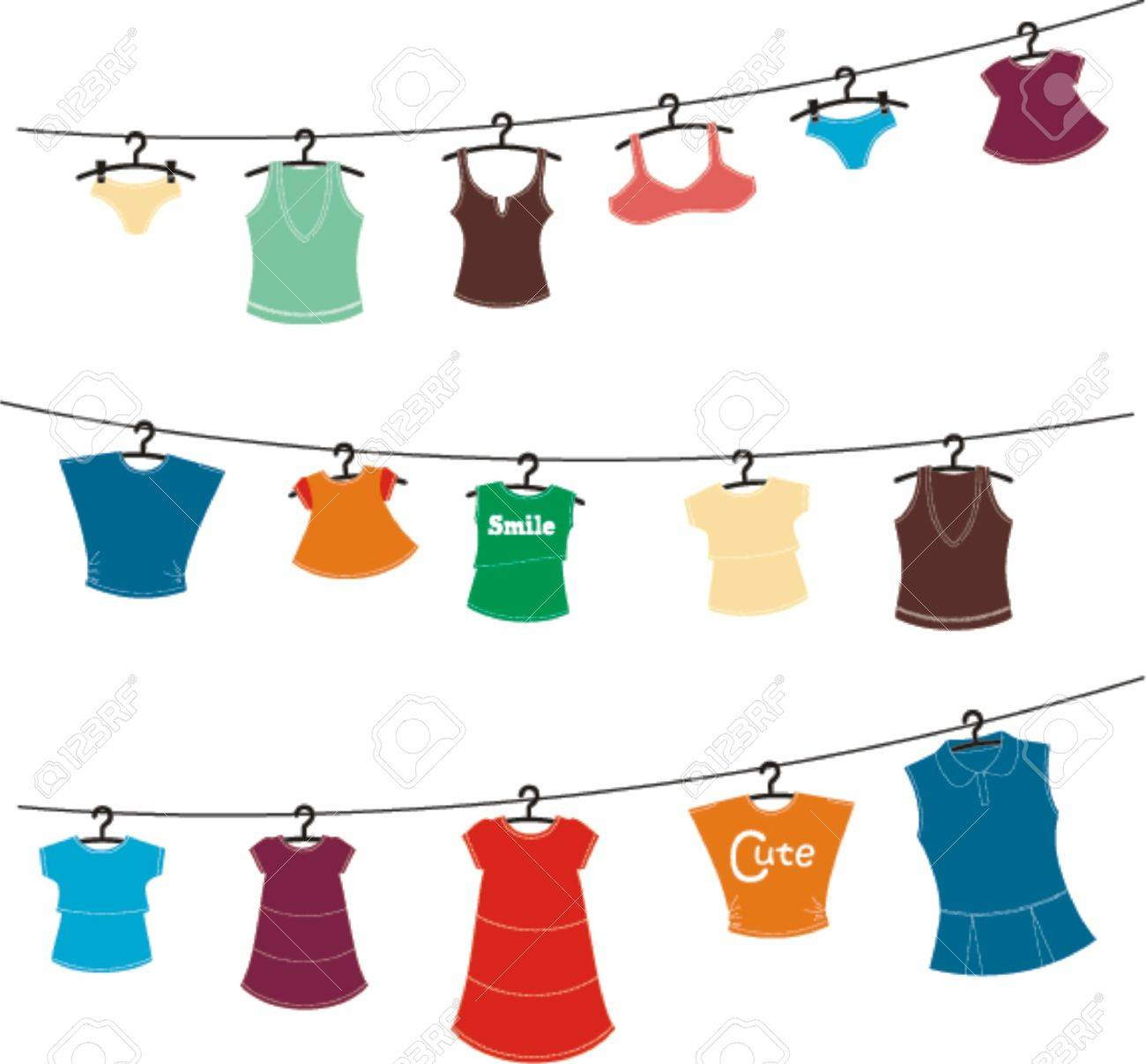 women clothes on washing line.