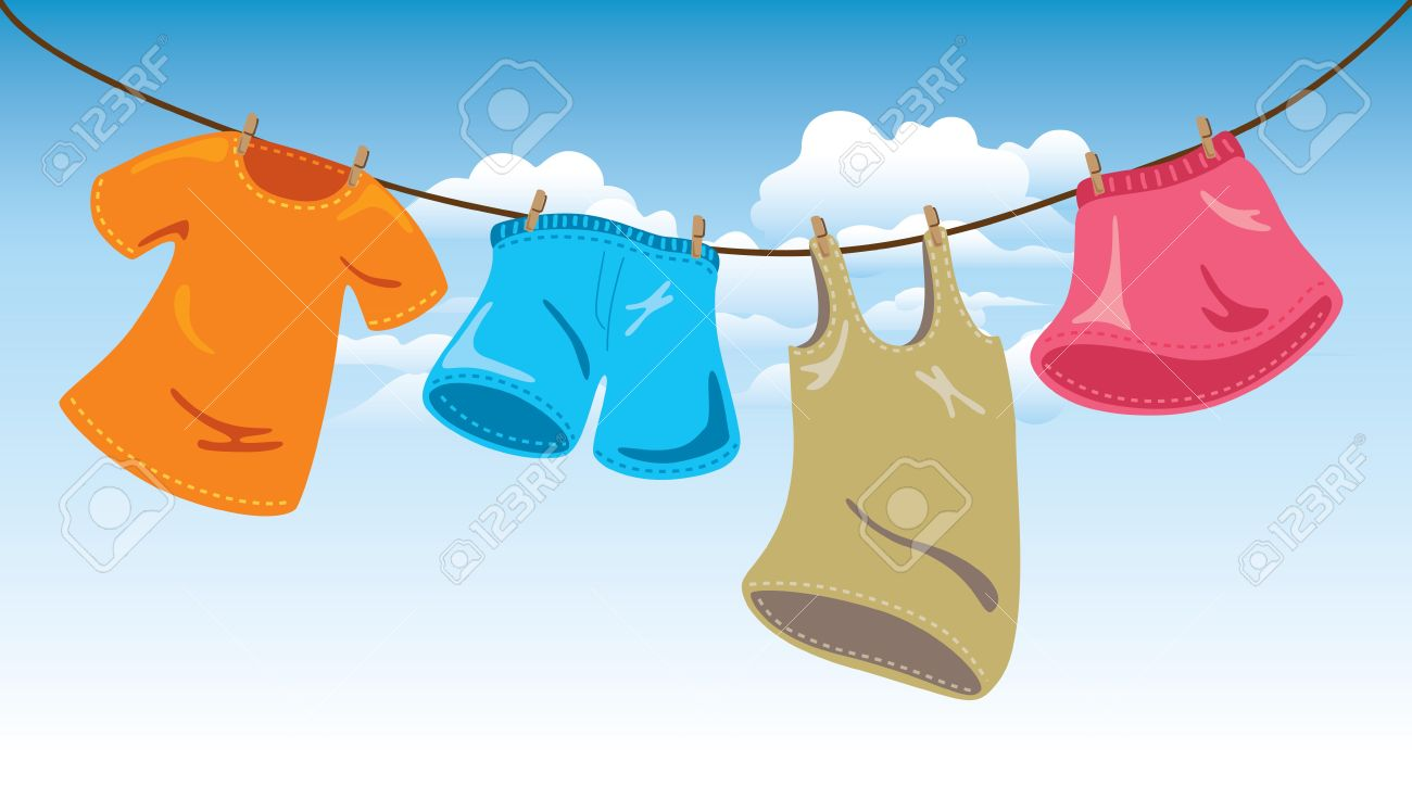 hanging clothes on washing line.