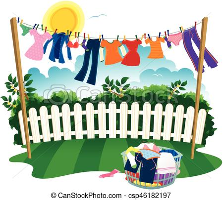 Washing line and clothes.eps.