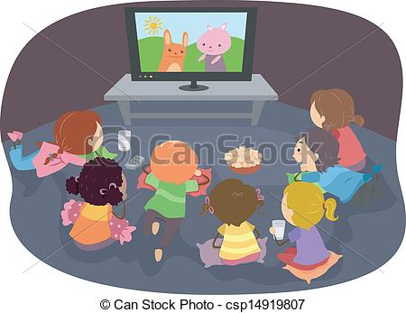 Kids Watching Movie Clipart.