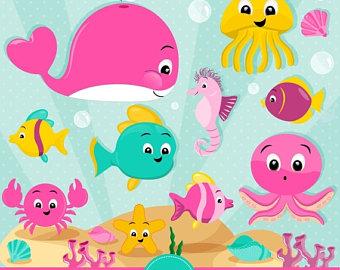 Sea animals clip art.
