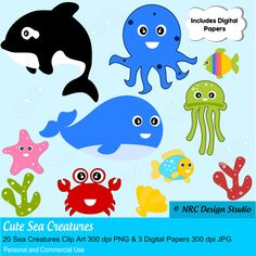 Cartoon Ocean Animals Collection.