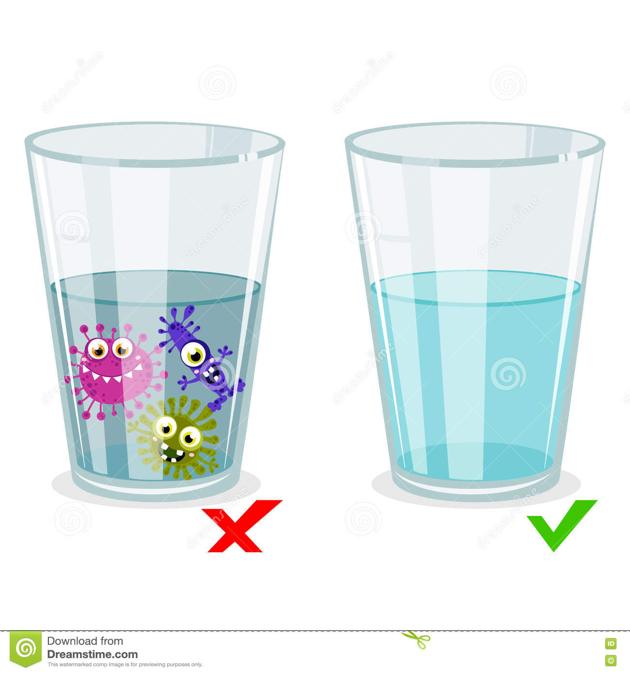 Glass With Clean And Dirty Water, Infection Illustration Stock.