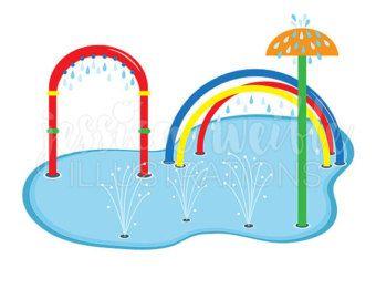 Splash Pad Clip Art, Cute Digital Clipart, Water Park Clip.