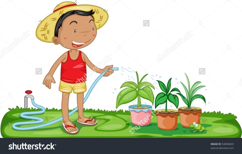 Illustration Boy Watering Plants On White Stock Vector 54094603.