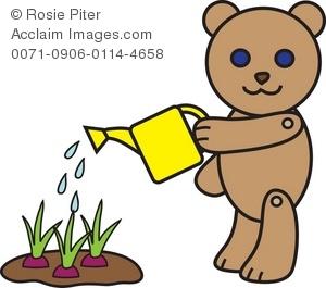 Clip Art Illustration of a Bear Watering Plants.