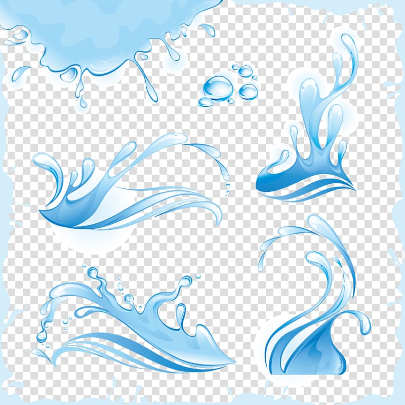 Blue and white water illustration, Water Wave Splash Drop.