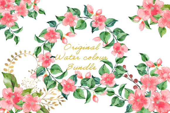 Watercolour Flower Clipart Bundle.