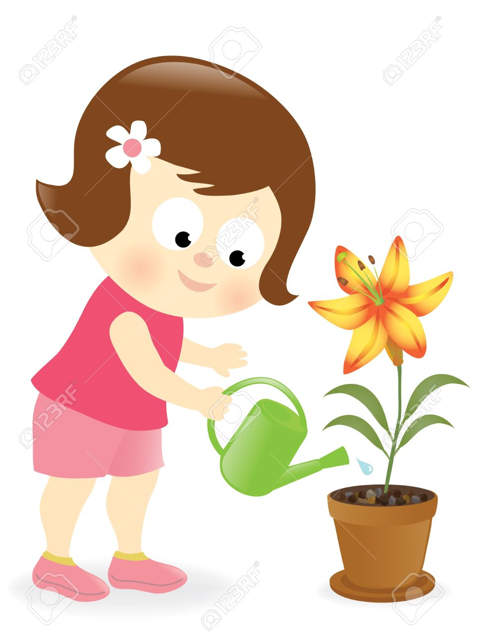Girl watering plants clipart 5 » Clipart Station.