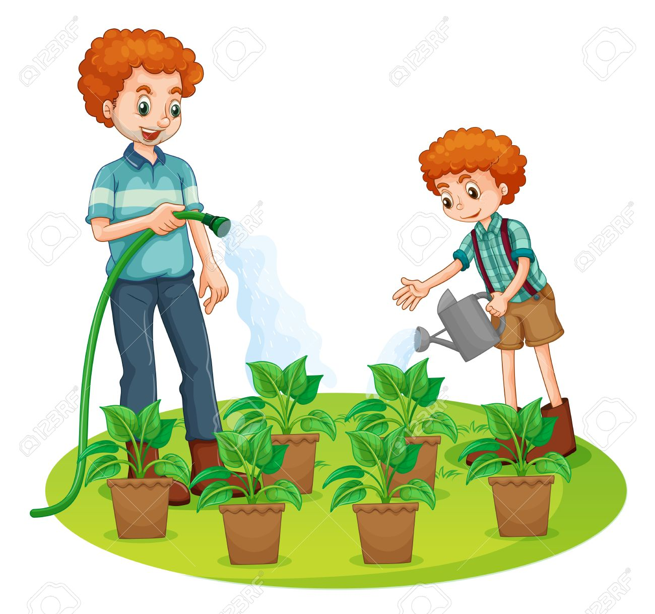 Father and son watering the plants illustration.