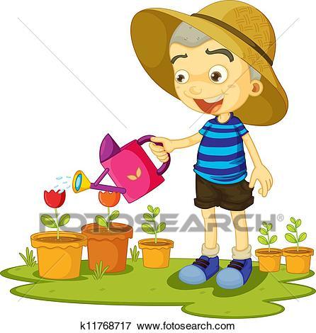 A girl watering plants Clip Art.