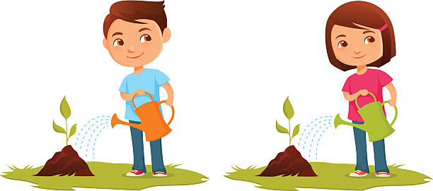 Best Child Watering Plants Illustrations, Royalty.