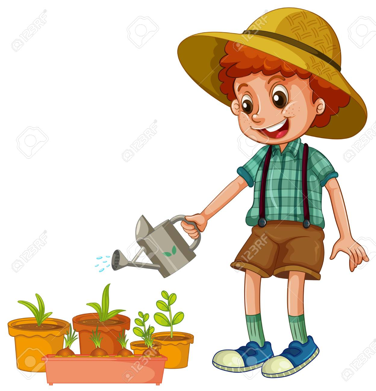A Boy Watering the Plants illustration.