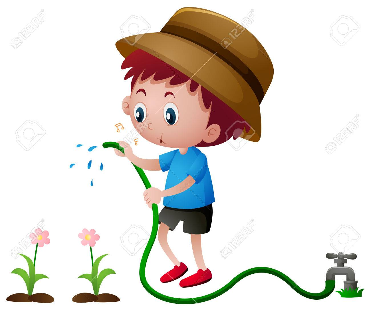Boy watering plants with hose illustration.