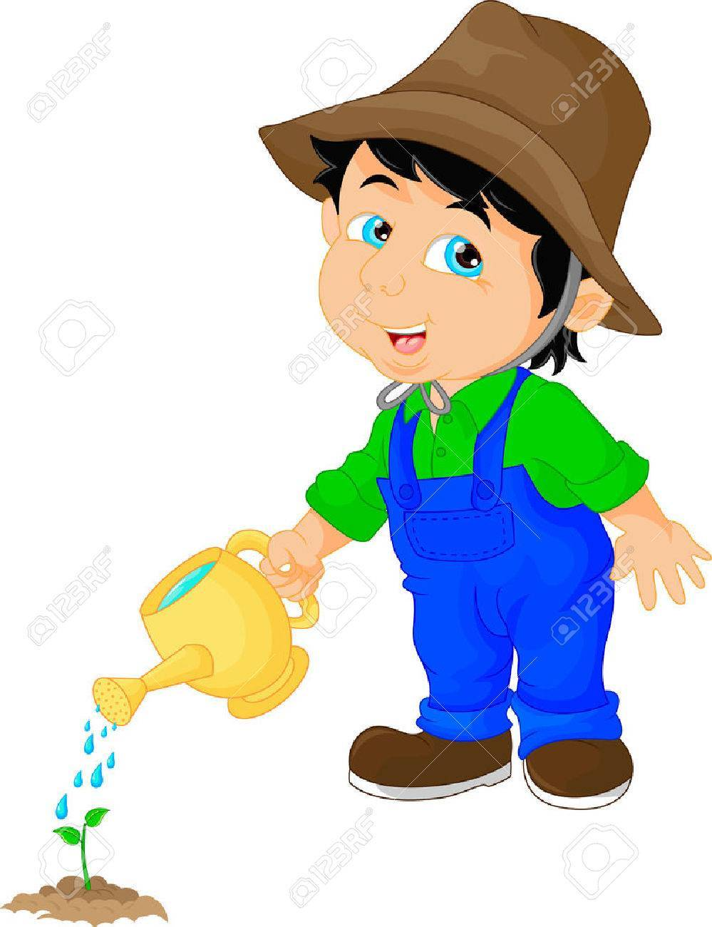 Boy watering the plants clipart 3 » Clipart Portal.