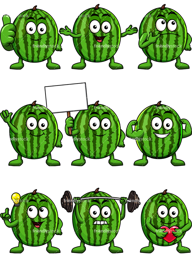 Watermelon Mascot Collection.